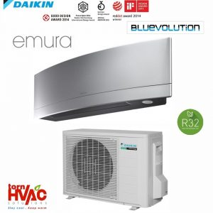 R32 Bluevolution Aer conditionat Daikin Emura FTXJ25MS+RXJ25M 9000 Btu Argintiu